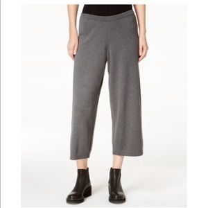 Eileen Fisher Gray Pull-on Cropped Wool Pants M D1